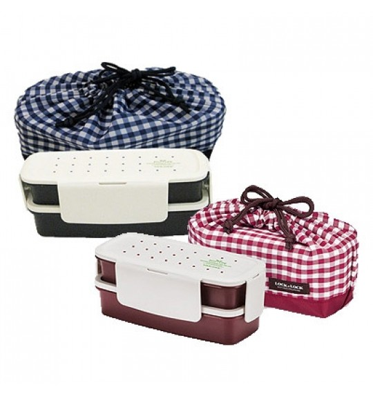 Lock & Lock 2 Layers Lunch Box With Bag (L)