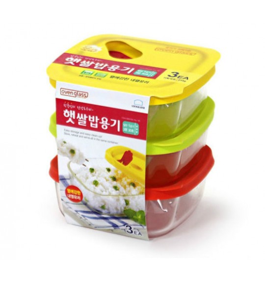 LOCK&LOCK Rice Glass Container 320ml (3pcs)