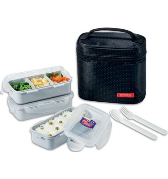 ... Lunch Box 3P Set With Bag, Spoon & Fork Set. Lock & Lock