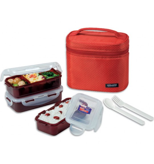 Lock & Lock Lunch Box 3P Set With Bag, Spoon & Fork Set