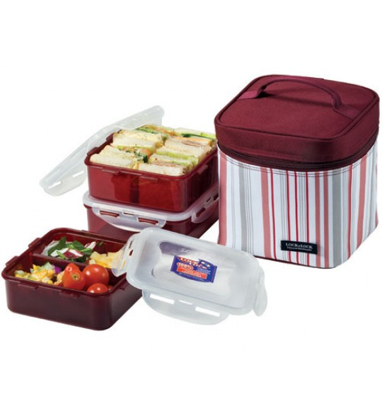 Lock & Lock Lunch Box 3P Set With Stripe Bag