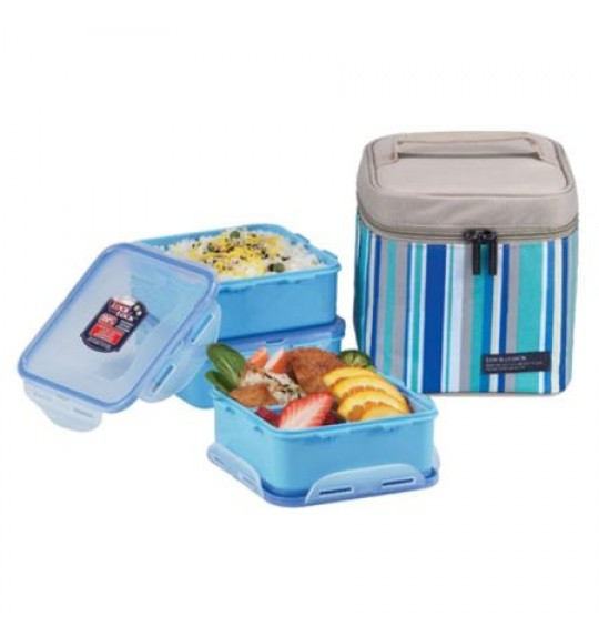Lock & Lock Lunch Box 3P Set With Blue Lunch Bag