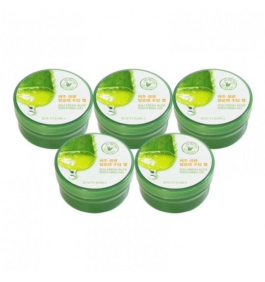 Jeju Fresh Aloe Soothing Gel 300mL (5pcs)