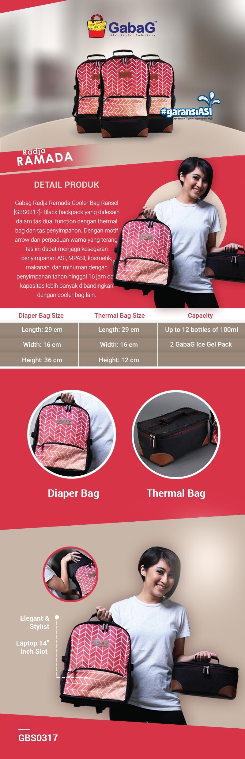 Gabag Radja Ramada Cooler Bags Backpack 2 In 1 Detail Info Produk